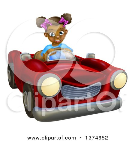 Clipart of a Happy Black Girl Driving a Red Convertible Car - Royalty Free Vector Illustration by AtStockIllustration
