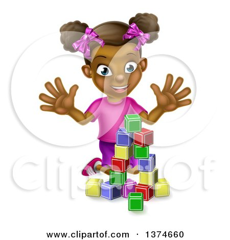 Clipart of a Happy Black Girl Playing with Toy Blocks - Royalty Free Vector Illustration by AtStockIllustration