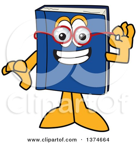 Clipart of a Blue Book Mascot Character Wearing Glasses - Royalty Free Vector Illustration by Toons4Biz