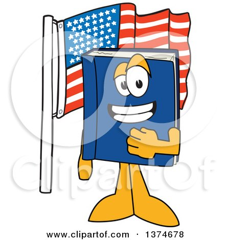 Clipart of a Blue Book Mascot Character Pledging Allegiance by an American Flag - Royalty Free Vector Illustration by Toons4Biz