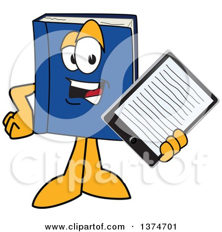 Clipart of a Blue Book Mascot Character Holding out an E Reader or Tablet Computer - Royalty Free Vector Illustration by Toons4Biz