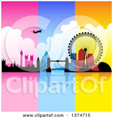 Clipart of a Silhouetted Airplane over London with Pink, Blue and Orange Panels - Royalty Free Vector Illustration by cidepix