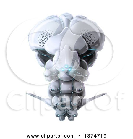 Clipart of a 3d Futuristic Flying Bug Robot with Blue Lights - Royalty Free Illustration by Leo Blanchette