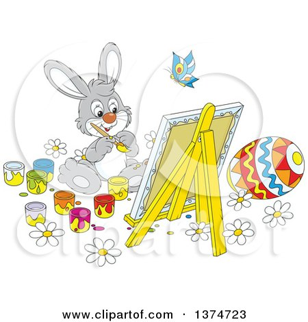 Clipart of a Cute Gray Easter Bunny Painting a Canvas and Eggs - Royalty Free Vector Illustration by Alex Bannykh