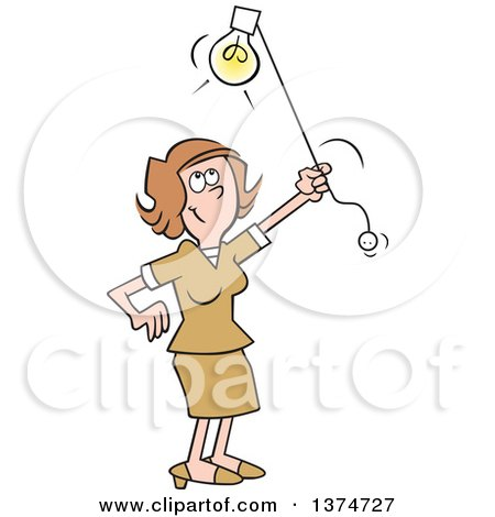 Clipart of a Cartoon Happy Brunette White Woman Shedding Light on a Subject - Royalty Free Vector Illustration by Johnny Sajem