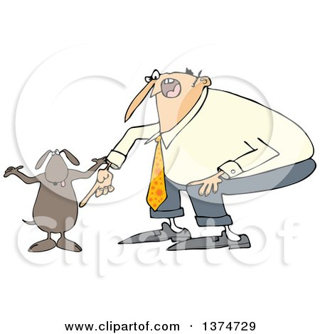Clipart of a Cartoon Chubby White Man Yelling at His Careless Dog - Royalty Free Vector Illustration by djart