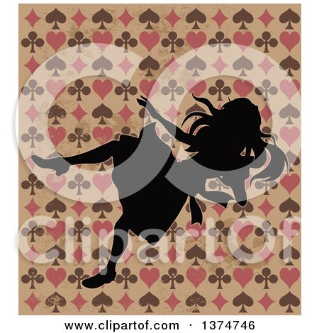 Clipart of Alice in Wonderland Silhouetted and Falling over a Grungy Design - Royalty Free Vector Illustration by Pushkin