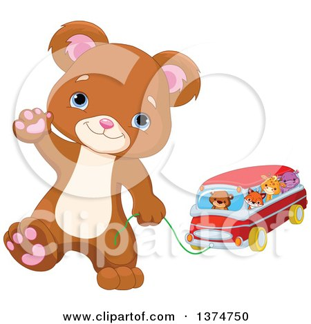 Clipart of a Cute Bear Cub Walking Upright, Waving and Pulling a Toy Car with Animals - Royalty Free Vector Illustration by Pushkin