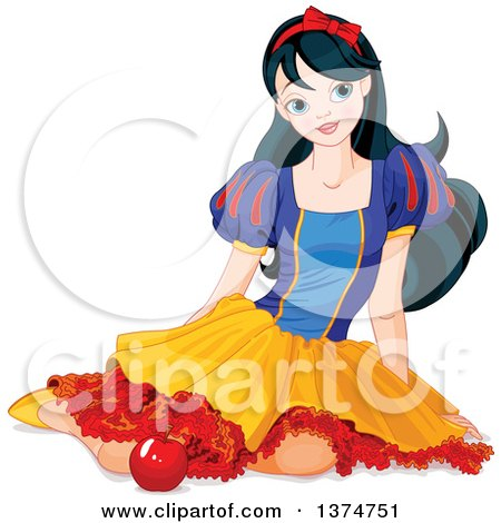 Clipart of a Princess Snow White Sitting on the Ground with an Apple - Royalty Free Vector Illustration by Pushkin