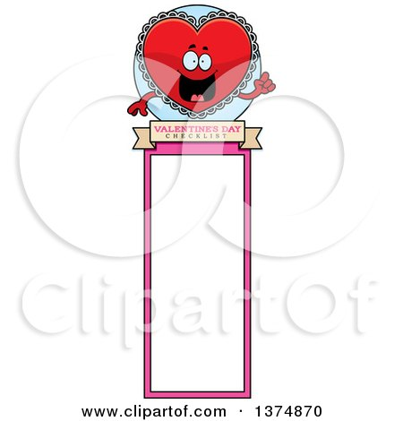 Clipart of a Happy Red Doily Valentine Heart Mascot Bookmark - Royalty Free Vector Illustration by Cory Thoman