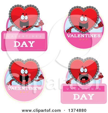 Clipart of Badges of a Happy Red Doily Valentine Heart Mascot - Royalty Free Vector Illustration by Cory Thoman