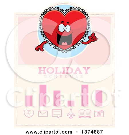Clipart of a Happy Red Doily Valentine Heart Mascot Schedule Design - Royalty Free Vector Illustration by Cory Thoman