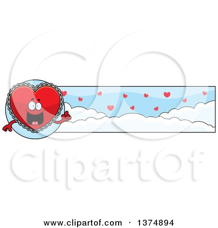 Clipart of a Happy Red Doily Valentine Heart Mascot Banner - Royalty Free Vector Illustration by Cory Thoman