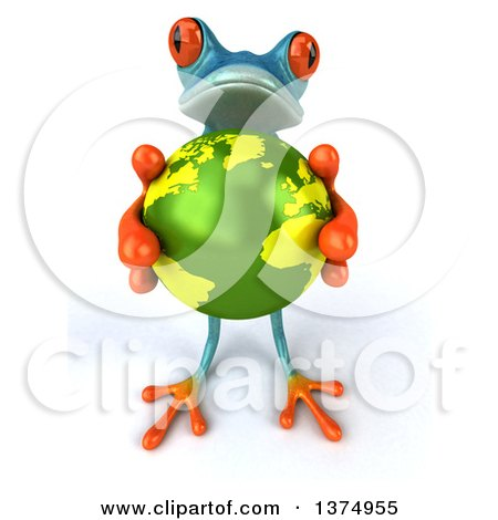 Clipart of a 3d Turquoise Frog Holding up a Globe, on a White Background - Royalty Free Illustration by Julos