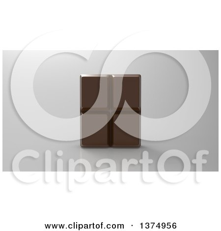 Clipart of a 3d Chocolate Bar on a Reflective Gray Background - Royalty Free Illustration by Julos