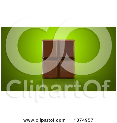 Clipart of a 3d Chocolate Bar on a Reflective Green Background - Royalty Free Illustration by Julos