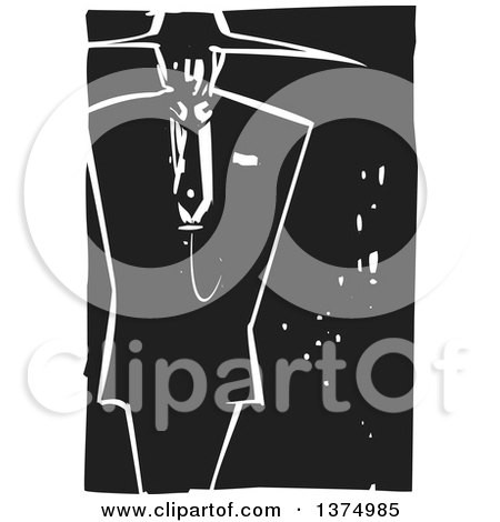 Clipart of a Black and White Woodcut Man in a Zoot Suit - Royalty Free Vector Illustration by xunantunich