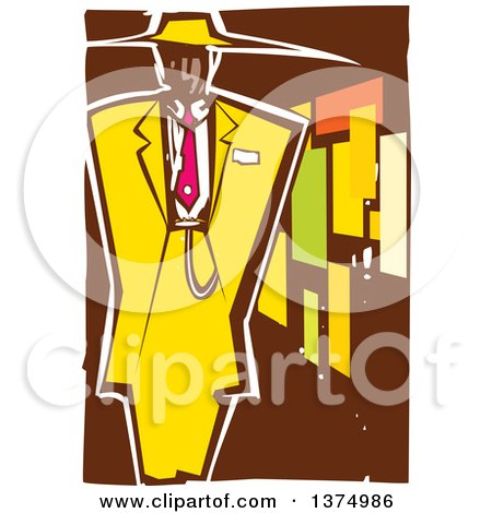 Clipart of a Woodcut Black Man in a Zoot Suit - Royalty Free Vector Illustration by xunantunich