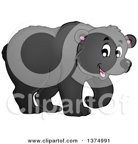 Clipart of a Happy Black Bear Walking - Royalty Free Vector Illustration by visekart