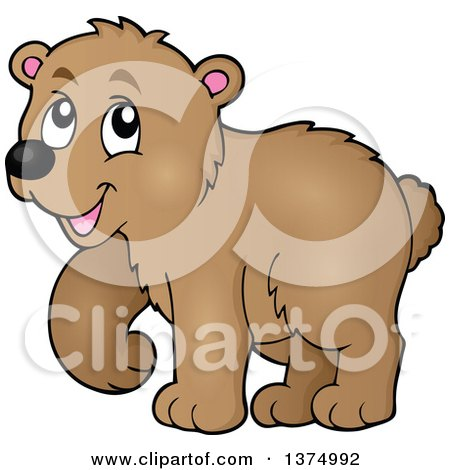 Clipart of a Walking Brown Bear - Royalty Free Vector Illustration by visekart
