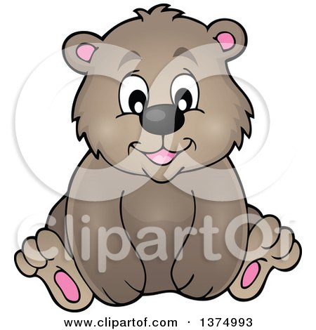 Clipart of a Sitting Brown Bear - Royalty Free Vector Illustration by visekart