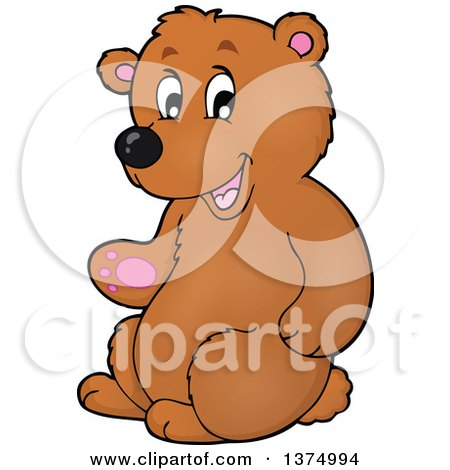 Clipart of a Presenting Brown Bear - Royalty Free Vector Illustration by visekart