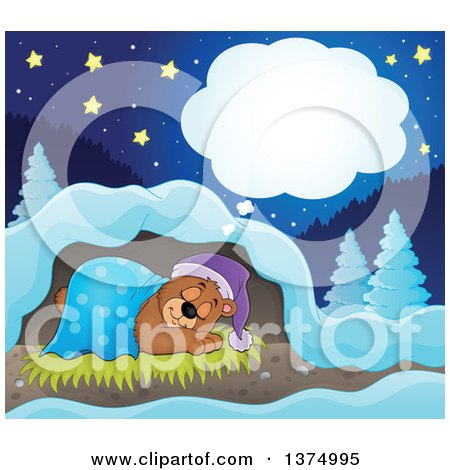 Clipart of a Cartoon Cute Brown Bear Dreaming with a Blanket and Night Cap in a Cave - Royalty Free Vector Illustration by visekart