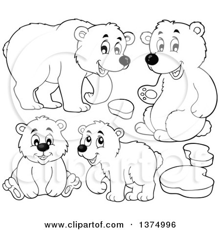 Clipart of Black and White Polar Bears and Ice - Royalty Free Vector Illustration by visekart