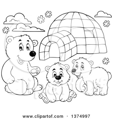 Clipart of Black and White Polar Bears by an Igloo - Royalty Free Vector Illustration by visekart