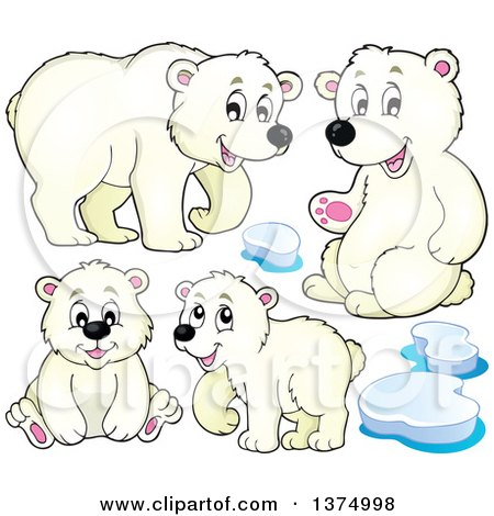 Clipart of Polar Bears and Ice - Royalty Free Vector Illustration by visekart