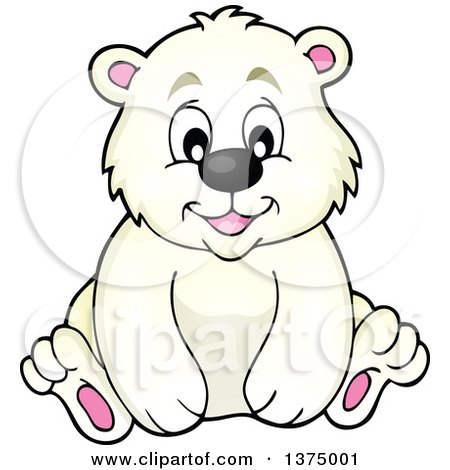 Clipart of a Happy Polar Bear Sitting - Royalty Free Vector Illustration by visekart