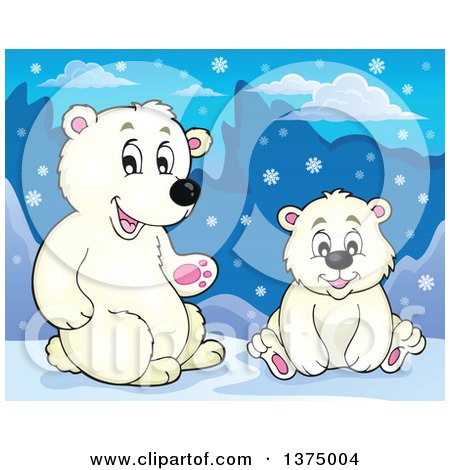 Clipart of Polar Bears in the Snow - Royalty Free Vector Illustration by visekart