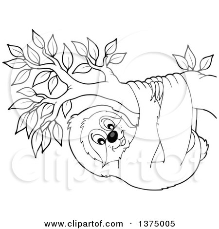 Clipart of a Black and White Happy Sloth Hanging from a Branch - Royalty Free Vector Illustration by visekart