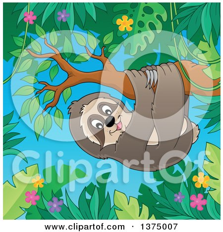 Clipart of a Happy Sloth Hanging from a Branch in a Jungle - Royalty Free Vector Illustration by visekart