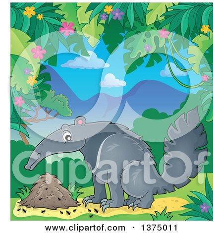 Clipart of a Happy Anteater by a Nest in a Jungle - Royalty Free Vector Illustration by visekart