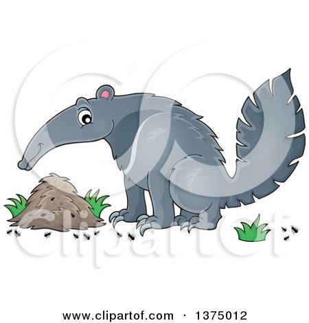 Clipart of a Happy Anteater by a Nest - Royalty Free Vector Illustration by visekart
