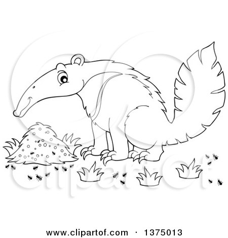 Clipart of a Black and White Happy Anteater by a Nest - Royalty Free Vector Illustration by visekart