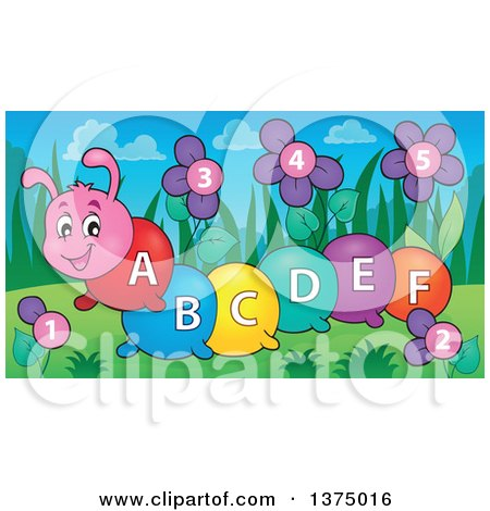 Clipart Of A Happy Colorful Caterpillar With Letters On Its Body
