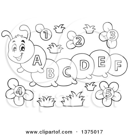 Clipart of a Black and White Happy Caterpillar with Letters on Its Body and Number Flowers - Royalty Free Vector Illustration by visekart