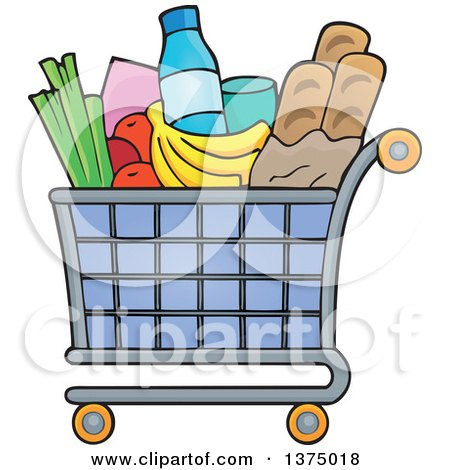 Clipart of a Shopping Cart Full of Groceries - Royalty Free Vector Illustration by visekart