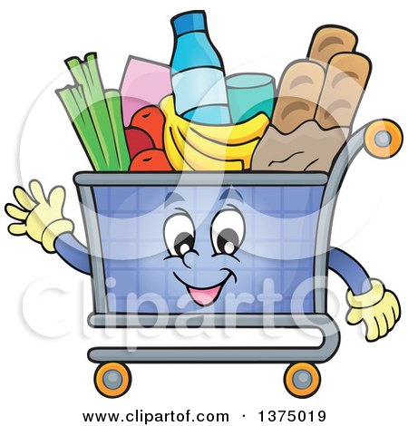 Clipart of a Waving Shopping Cart Character Full of Groceries - Royalty Free Vector Illustration by visekart