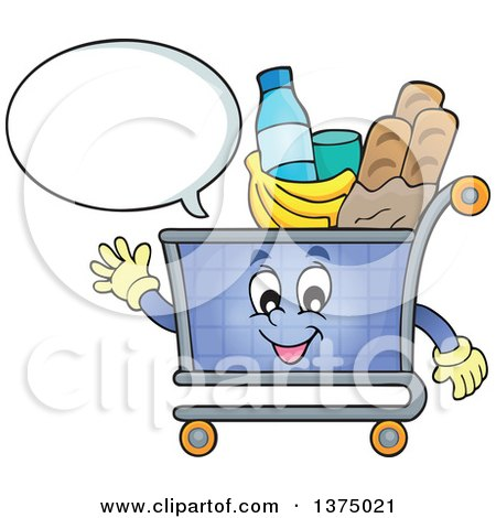 Clipart of a Waving and Talking Shopping Cart Character Full of Groceries - Royalty Free Vector Illustration by visekart