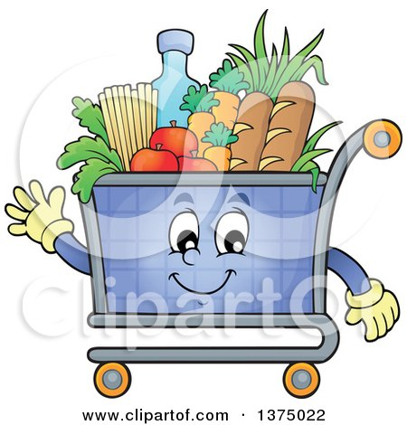 Clipart of a Waving Shopping Cart Mascot Full of Groceries - Royalty Free Vector Illustration by visekart