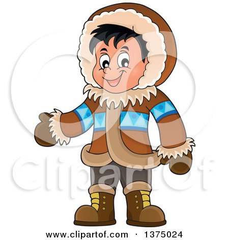 Clipart of a Happy Inuit Eskimo Boy Presenting - Royalty Free Vector Illustration by visekart