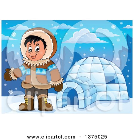 Clipart of a Happy Inuit Eskimo Boy Presenting by an Igloo - Royalty Free Vector Illustration by visekart