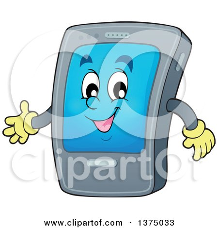 Clipart of a Cartoon Happy Gray Smart Phone Character Presenting - Royalty Free Vector Illustration by visekart