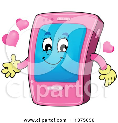 Clipart of a Cartoon Happy Pink Smart Phone Character Presenting - Royalty Free Vector Illustration by visekart