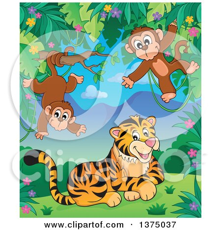 Clipart of a Tiger and Monkeys in the Jungle - Royalty Free Vector Illustration by visekart