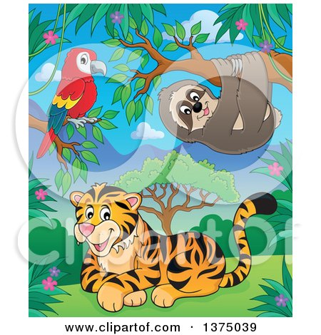 Clipart of a Parrot, Sloth and Tiger in the Jungle - Royalty Free Vector Illustration by visekart