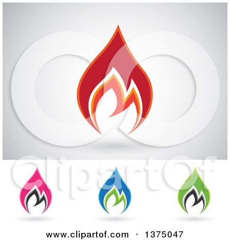 Clipart of Colorful Fire Icon Logos with Shadows - Royalty Free Vector Illustration by cidepix